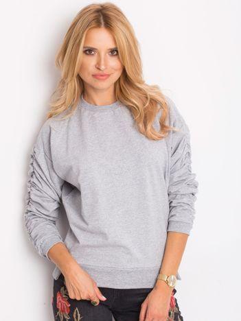 Jasnoszara bluza damska z marszczonymi rękawami
