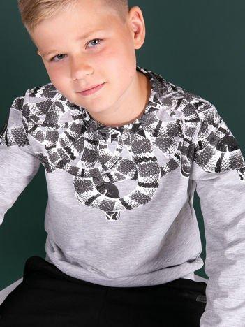 Jasnoszara bluza dla chłopca z nadrukiem