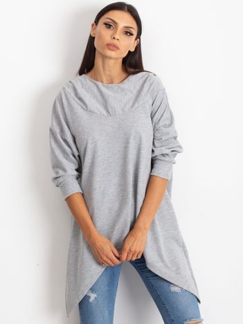 Jasnoszara bluza z dłuższymi połami