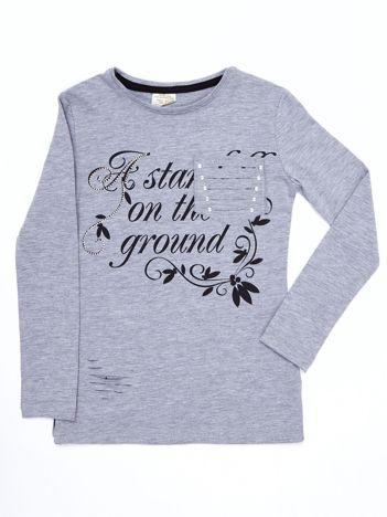 Jasnoszara bluzka dla dziewczynki cut out z nadrukiem