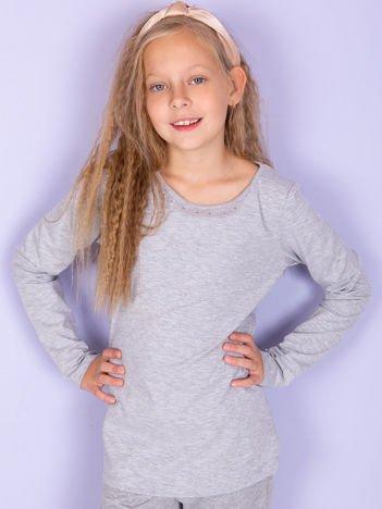 Jasnoszara bluzka dziewczęca basic z dżetami