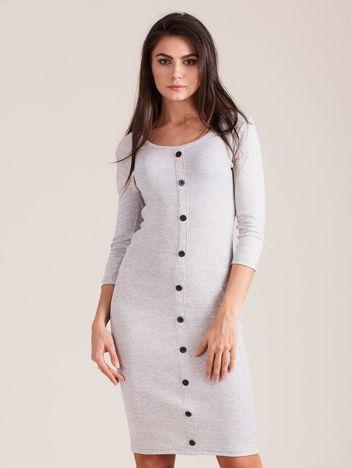 Jasnoszara dopasowana prążkowana sukienka