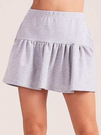 Jasnoszara dresowa spódnica z falbaną