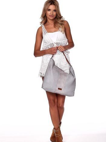 Jasnoszara duża torba z ażurowaniem i odpinanym paskiem
