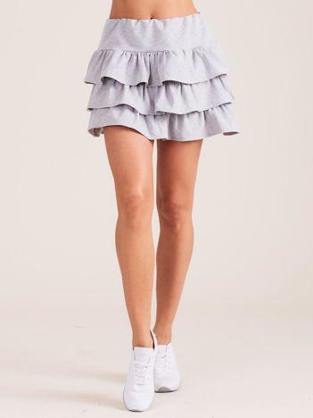 Jasnoszara spódnica mini z falbanami