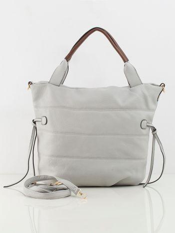 Jasnoszara torba na ramię z ekoskóry