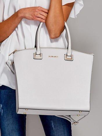 Jasnoszara torba shopper bag ze złotymi okuciami