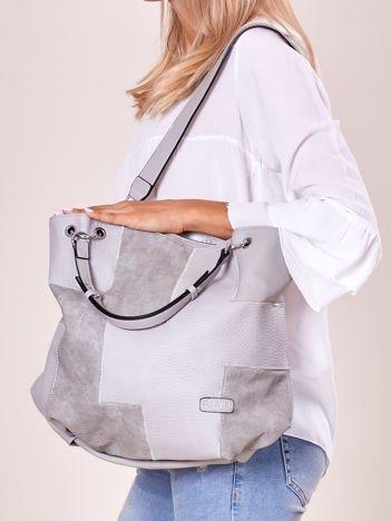 Jasnoszara torba shopper z geometrycznymi modułami