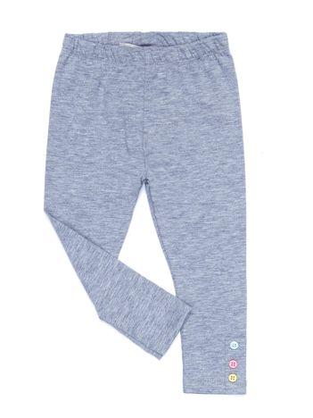 Jasnoszare legginsy dla dziewczynki z kolorowymi guzikami