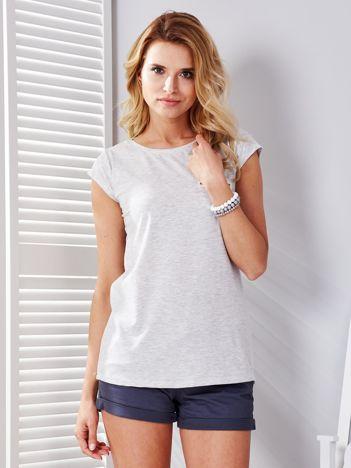 Jasnoszary melanżowy t-shirt z suwakiem