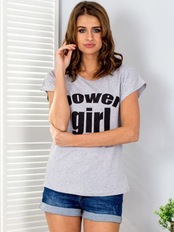 Jasnoszary t-shirt POWER GIRL