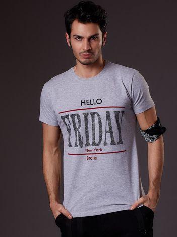 Jasnoszary t-shirt męski HELLO FRIDAY
