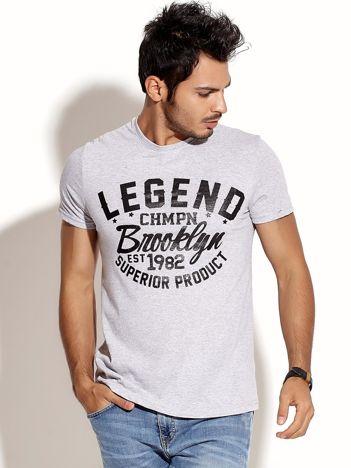 Jasnoszary t-shirt męski LEGEND