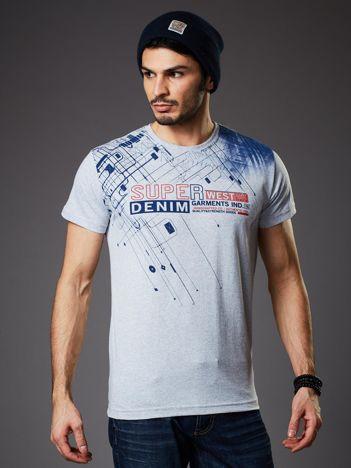 Jasnoszary t-shirt męski z graficznym motywem
