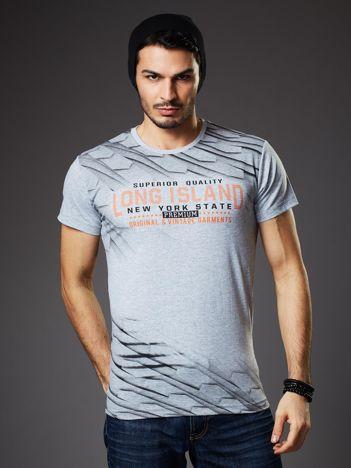 Jasnoszary t-shirt męski z graficznym nadrukiem