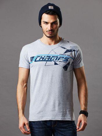 Jasnoszary t-shirt męski z kolorowym napisem