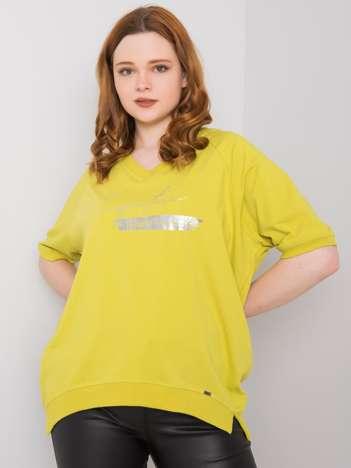 Jasnozielona bluzka plus size z nadrukiem Tanith