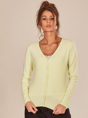 Jasnozielony rozpinany sweter