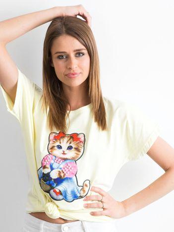 Jasnożółty luźny t-shirt Sweetness