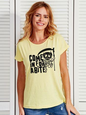 Jasnożółty t-shirt damski z nadrukiem Halloween
