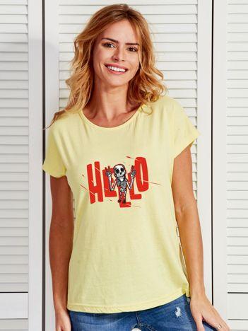 Jasnożółty t-shirt z nadrukiem na Halloween
