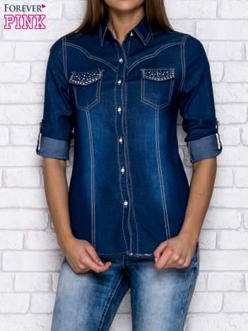 Jeansowa ciemnoniebieska koszula z dżetami