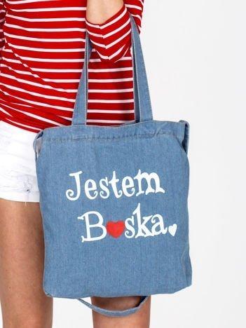 Jeansowa niebieska torba bawełniana JESTEM BOSKA