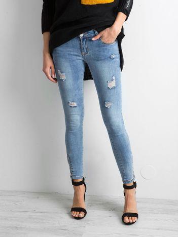 Jeansy skinny niebieskie z przetarciami