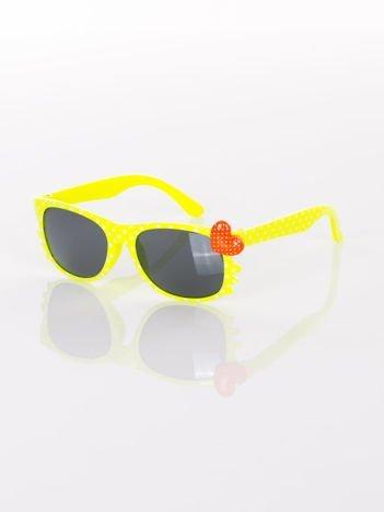 KOTEK Z SERCEM Dziecięce żółte okulary typu WAYFARER w kropki z filtrami