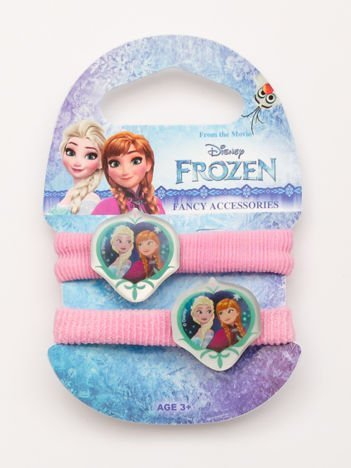 KRAINA LODU Komplet 2 rózowych gumek-frotek dla dziewczynki