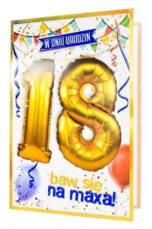 KUKARTKA Kartka urodzinowa 18 lat oraz zestaw balonów 40 cm do nadmuchania w jednym