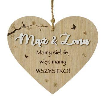 KUKARTKA Tabliczka w kształcie serca z sentencją Mąż i Żona... Wspaniały, niezapomniany pomysł w ramach prezentu dla nowożeńców