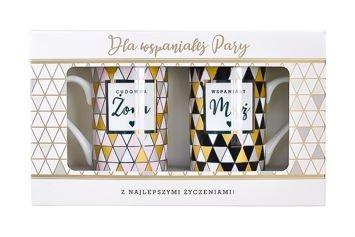 KUKARTKA Zestaw kubków Dla Wspaniałej Pary Wykonane z prawdziwej porcelany, oryginalnie zdobione i opakowane w elegancki kartonik prezentowy