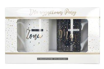 KUKARTKA Zestaw kubków Dla Wyjątkowej Pary Wykonane z prawdziwej porcelany, oryginalnie zdobione i opakowane w elegancki kartonik prezentowy