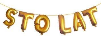 KUKARTKA Zestaw złotych balonów do nadmuchania tworzących napis Sto Lat