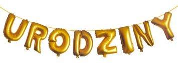 KUKARTKA Zestaw złotych balonów do nadmuchania tworzących napis Urodziny