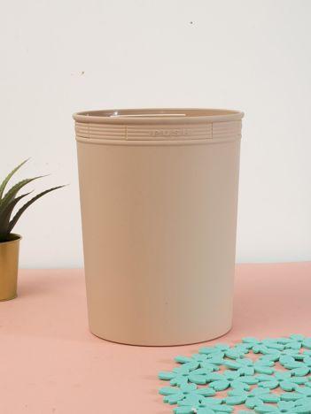 Kakaowy pastelowy kosz na śmieci z holderem na worek