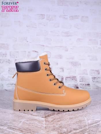 Karmelowe buty trekkingowe damskie traperki Ricci ocieplane z brązową cholewką