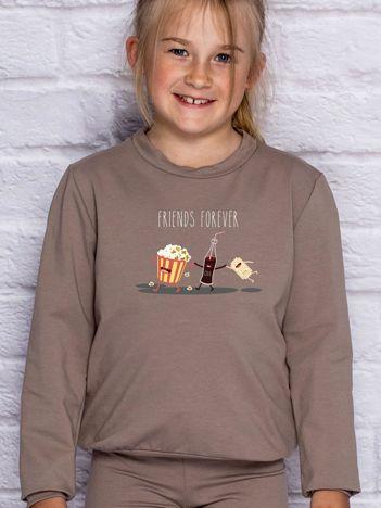 Kawowa bluza dziecięca z popcornem FRIENDS FOREVER
