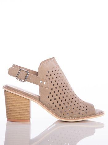 Kawowe ażurowe sandały Sergio Leone na szerokim klocku