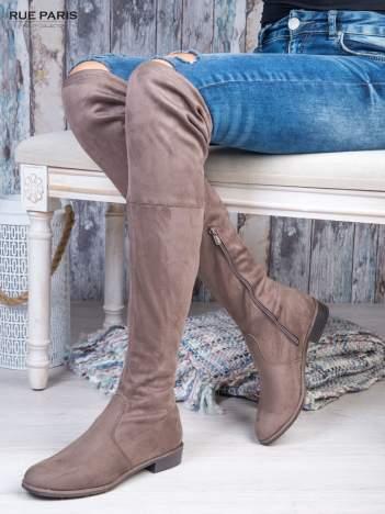 Kawowe zamszowe kozaki faux suede za kolana wiązane na sznurek nad kolanem