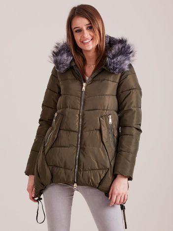 Khaki asymetryczna kurtka zimowa