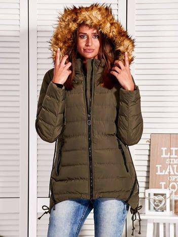 Khaki asymetryczna pikowana kurtka