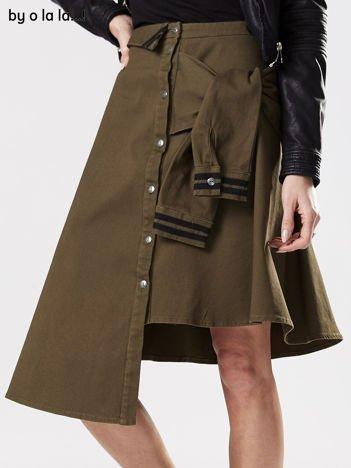 Khaki asymetryczna spódnica BY O LA LA