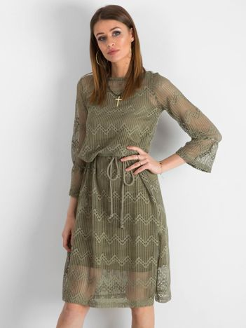 Khaki ażurowa sukienka damska