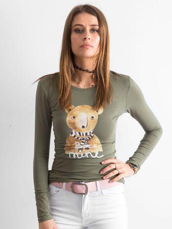 Khaki bawełniana bluzka z nadrukiem
