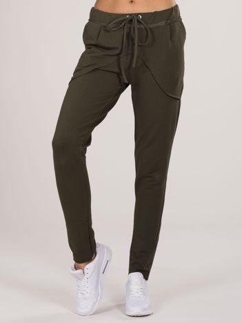 Khaki bawełniane spodnie dresowe
