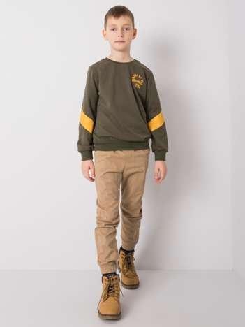 Khaki bluza dla chłopca bez kaptura