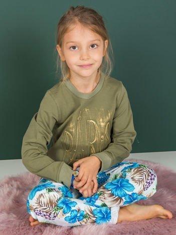 Khaki bluza dziecięca bawełniana z tłoczonym napisem