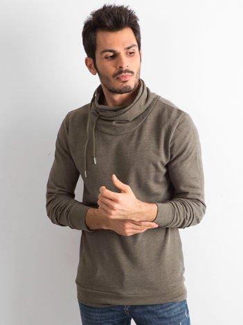 Khaki bluza męska z kominowym kołnierzem